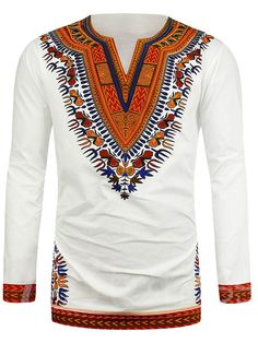 Hot New Dashiki Traditional African National Style Men's Long Sleeve Ethnic Printing T-Shirts 2017 Roupas Africanas Para Homens African Shirts For Men, African Dresses For Women, African Wear, African Style, African Dashiki Shirt, Dashiki For Men, Top Model Homme, Style Africain, Hippie Tops