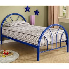 Coaster Furniture Marjorie Blue Twin youth bed in finished in blue metal This twin bed offers a calming Metal Twin Bed Frame, Metal Beds, Twin Platform Bed, Metal Platform Bed, Kids Toddler Bed, Bed Slats, Coaster Furniture, Headboard And Footboard, White Bedding