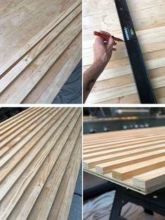 What an amazing DIY wood slat sliding door! You can make yours- follow the step by step tutorial! #diyslidingdoor #diybarndoor Wood Slat Ceiling, Wood Slat Wall, Wood Slats, Diy Sliding Door, Diy Barn Door, Diy Door, Barn Doors, Cool Wallpapers For Walls, Bois Diy