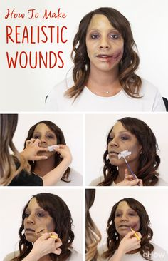 """DIY Realistic Wounds for Halloween. Step up your zombie  or injured costume game with this DIY.  Some costumes just aren't complete without an oozing, bleeding, grotesque wound. Make this gruesome, realistic-looking wound to up the  """"ew"""" factor to your Halloween ensemble. Step-by-step pictures and video included: http://www.ehow.com/how_7718726_make-realistic-wounds.html?utm_source=pinterest.com&utm_medium=referral&utm_content=freestyle&utm_campaign=fanpage"""