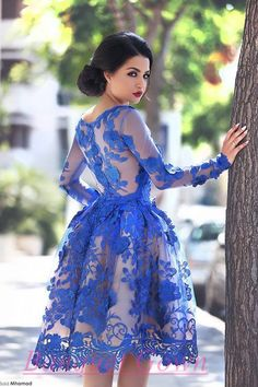 2016 Royal Blue Knee Length Homecoming Dresses Long Sleeves Lace Flowers Short Formal Cocktail Party Dress