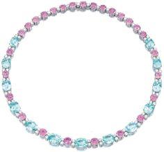 Diamond, pink sapphire, and pariaba tourmaline necklace, Michele Della Valle.