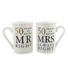 Golden Wedding Anniversary Gift Set of 2 China Mugs 'Mr Right & Mrs Always Right' Mr Right, Mrs Always Right, 50 Wedding Anniversary Gifts, Anniversary Gifts For Parents, Wedding Gifts, Second Anniversary, Anniversary Invitations, Happy Anniversary, Wedding Ideas