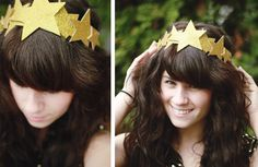 Deck out your New Year's Eve hairdo with a pretty glitter star headband you can make a few hours before the party. Diy Headband, Headbands, Nativity Costumes, Diy Nativity, New Years Hat, Star Costume, Christmas Program, Diy Hat, Glitter Stars