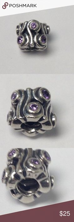 Authentic Pandora with purple czs Good condition beautiful!! 2 available Pandora Jewelry Bracelets
