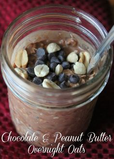 Chocolate Peanut Butter Overnight Oats 315 calories and 9 weight watchers points. These are so good you will think you are eating dessert and not a hearty healthy breakfast!