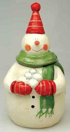 Figurine Cookie Jar in the Juggling Snowman pattern by Certified Int Corp Fun Cookies, Holiday Cookies, Peanut Blossoms, Teapot Cookies, Christmas Cookie Jars, Vintage Cookies, Ceramic Decor, Gingerbread Man, Vintage Christmas