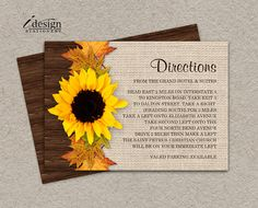 Fall Wedding Directions Card With Sunflower And Leaves By iDesignStationery On Etsy - $5.95. #FallWedding #Sunflowers #CountryWedding