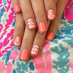 Pretty. manicur, coral nail, nail arts, summer nails, wedding colors, design, anchor, nautical nails, chevron nails