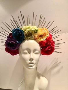 Burner Headband Flower Headdress Mexican headdress Day Of | Etsy Flower Headbands, Flower Crowns, Flower Headdress, Mexican Flowers, Mexican Folk Art, Floral Crown, Day Of The Dead, Haberdashery, Halloween Outfits
