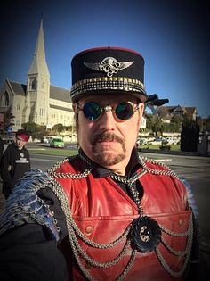 Viscount Eastman Wesley aka Bob Archer wearing his custom Airship Commanders Kepi created by VEW Steampunk Designs for his Steampunk NZ Festival appearances in Oamaru New Zealand in 2016