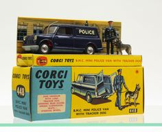 Corgi Toys No448. Mini Van in police guise. My Aunt kept buying me Corgi Gift Sets, frequently vans .... and quite often with plastic figures