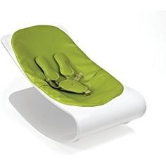 Bloom Coco Plexistyle Baby Lounger with Seat Pad, White Frame, Pad Gala Green (Leatherette)