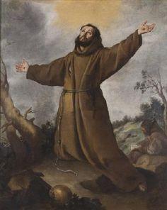 St. Francis Receiving the Stigmata - Bartolome Esteban Murillo.  c. 1645-50.  Oil on canvas.  Museo de Bellas Artes, Seville, Spain.