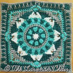 "Starflower Mandala Square 12"" - Free Crochet Pattern at The Lavender Chair. Mandala Blanket CAL Square no.10"