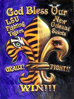 A big, bold, gold fleur de lis for LSU Tigers and New Orleans Saints. New Orleans Saints Logo, New Orleans Saints Football, Louisiana Homes, Louisiana State University, Louisiana Art, Lsu Tigers Football, College Football, Thing 1, Football Pictures