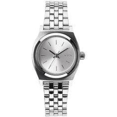 Nixon Small Silver-Tone Time Teller Stainless Steel Watch ($130) ❤ liked on Polyvore featuring jewelry, watches, pandora jewelry, blue dial watches, water resistant watches, stainless steel watches and slim watches