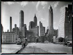 Manhattan skyline, South Street and Jones Lane | Photo by Berenice Abbott