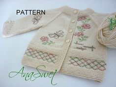 Pattern baby cardigan with butterflies and roses.P044