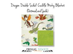 Dragon Viking Themed Double-Sided Cuddle Minky Blanket by Primal Vogue™ - 36x36 40x60 - Oatmeal Ivory, Jade Green - Very Soft Cuddle Minky