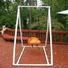 PVC pipe frame for baby swing? Great if u don't have trees, porch, etc.