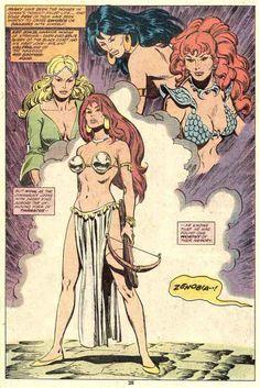 swordandsorcerytales:  Zenobia, Red Sonja, Belit andValeria by John Buscema.