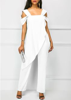 e032e137198e Open Back Overlay Embellished White Jumpsuit on sale only US 38.21 now