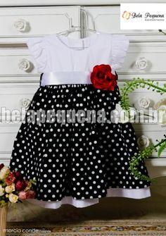 Vestido infantil de tricoline branco e preto de poá