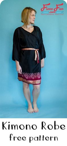 Sewing Ladies Clothes I love this kimono robe sewing tutorial. There is a free pattern . via - kimono robe tutorial ♥ Easy Sewing Projects, Sewing Projects For Beginners, Sewing Hacks, Sewing Tutorials, Fleece Projects, Sewing Tools, Sewing Basics, Sewing Ideas, Sewing Patterns Free