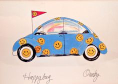 Volkswagen Watercolor Print  Anne Ormsby  by My3LuvBugsVintage