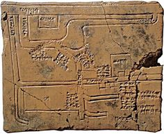 Clay tablet wit map of Nippur, 1683-47 B.C. Map of canals and irrigation system west of the Euphrates River with captions in cuneiform, Babylonian.