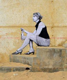 LEVALET -Lettre à l'oubli Encre de chine sur kraft sur mur sur plage. Rencontre des arts fous - Fouras