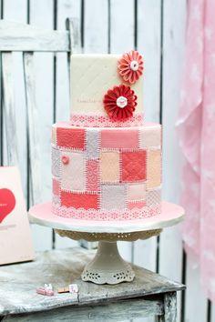 Sweet pink patchwork cake