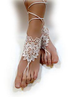 Set of 2. Beach Wedding Accessory Woman/'s Flower Crochet Foot Jewelry Long Ties Beachwear Crochet Barefoot Sandals Ivory or 27 colors