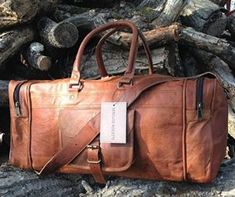0c0fe9e8f2 Hand Made Chic Rustic Leather Travel Bag Real Leather Weekend Bag Holdall  Overnight Holiday Vacation Duffel
