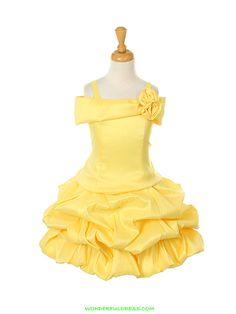 Yellow Off Shoulder Taffeta Pick Up Flower Girl Dress- Belle Costume