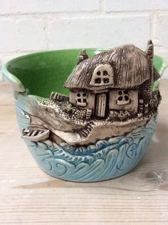 Yarn Bowl  Cottage by the sea by EarthWoolFire on Etsy, £75.00