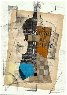 PRINT Cubist  Art Guitar  -  Mixed media collage art By Mirel E.Ologeanu. $6.91, via Etsy.