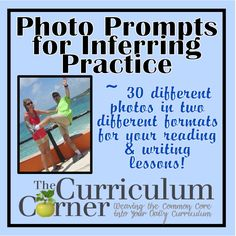 Use these inferencing photos during your reading workshop mini-lessons or small groups. FREE set of 30 photos from The Curriculum Corner. Reading Practice, Reading Lessons, Writing Lessons, Teaching Writing, Reading Skills, Writing Prompts, Teaching Ideas, Math Lessons, Comprehension Strategies