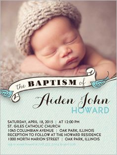 Baby boy or girl baptism christening invitations diy printable birdie baptism boy 4x5 invitation baptism invitations stopboris