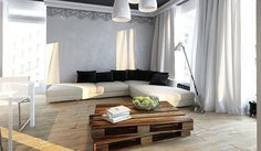 Modern apartment ideas bringing natural wood into black and white rooms