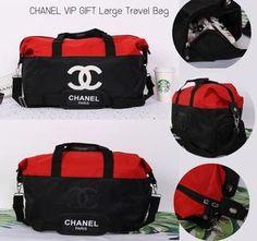 0c295c240a49ac Chanel Red Black CC Logo Travel Gym Duffle Weekend Bag Large Vip Gift