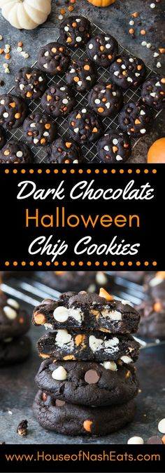 Dark Chocolate Halloween Chip Cookies have a super soft and black-as-night dark chocolate cookie base that is studded with sweet white chocolate chips and creamy peanut butter chips for a frighteningly delicious treat! | House of Nash Eats