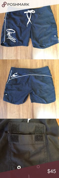 """O'Neill Board Shorts Black with White Details Description: Velcro and Tie waist. Side pocket.  Length: 14"""" front, 15 1/2"""" Back waist to hem Waist: 16"""" flat across Inseam: 6"""" Defects: White puppy hair magnet.  Condition: Excellent  🚫smoke 🏡 with 🐈🐩. Washed in All Free & Clear.   KB O'Neill Swim Coverups"""