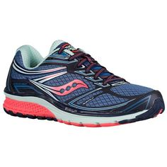New! Women's Saucony Guide 9 light stability shoe shown in Cobalt/Coral/Blue