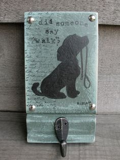 Dog leash holder Functional Art Dog Leash Hook Dog by bonnielecat, $40.00