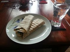 Lunch: Chicken, mushroom, spinach and camembert toasted wrap.