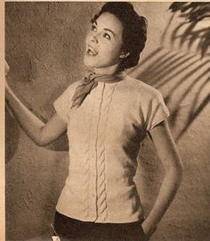 The   Vintage   Pattern   Files: 1950's Knitting - Cabled Cotton Cardigan
