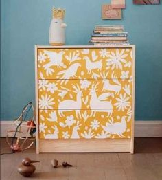 Painted Furniture. #painted #furniture - yellow and white design painted over dresser