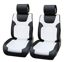 180206 Black/white-2 Front Car Seat Cover Cushions Leather Like Vinyl, Compatible to Honda CR-V 2015 & 2016